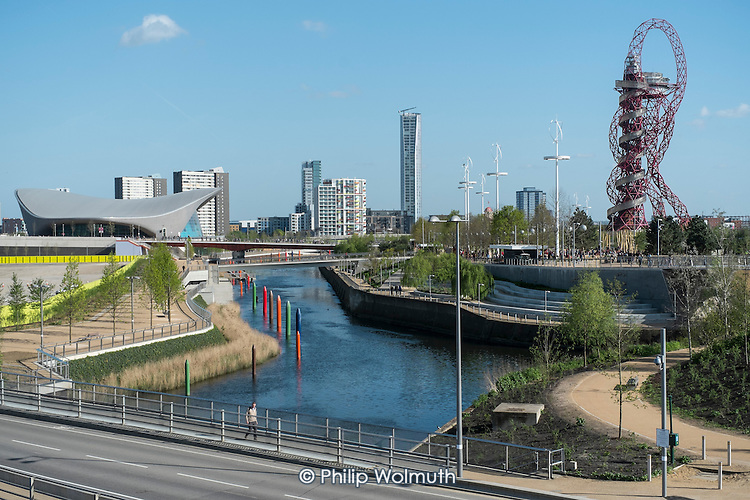 The Queen Elizabeth Olympic Park, Stratford, River Lea, and ArcelorMittal Orbit sculpture designed by Anish Kapoor