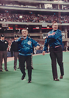 1990 FILE PHOTO - ARCHIVES -<br /> <br /> Prime Minister Brian Mulroney's<br />  pitch through the air as U.S. President<br />  George Bush finishes a left-handed throw before the Blue Jays home opener at the SkyDome.<br /> <br /> 1990<br /> <br /> PHOTO :  Erin Comb - Toronto Star Archives - AQP