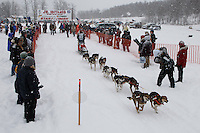 Rebekah Ruzicka of Anchor Point leaves the start line of the 2009 Junior Iditarod on Knik Lake on Saturday Februrary 28, 2009.