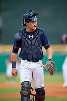 Montgomery Biscuits catcher Brett Sullivan (7) during a game against the Biloxi Shuckers on May 8, 2018 at Montgomery Riverwalk Stadium in Montgomery, Alabama.  Montgomery defeated Biloxi 10-5.  (Mike Janes/Four Seam Images)