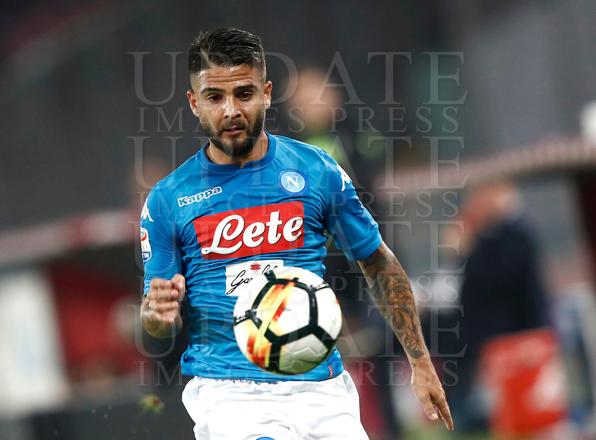 Calcio, Serie A: Napoli, stadio San Paolo, 21 ottobre 2017.<br /> Napoli's Lorenzo Insigne in action during the Italian Serie A football match between Napoli and Inter at Napoli's San Paolo stadium, October 21, 2017.<br /> UPDATE IMAGES PRESS/Isabella Bonotto