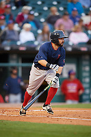 Pawtucket Red Sox second baseman Mike Miller (10) drops the bat as he runs to first base during a game against the Buffalo Bisons on August 31, 2017 at Coca-Cola Field in Buffalo, New York.  Buffalo defeated Pawtucket 4-2.  (Mike Janes/Four Seam Images)