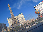 View of the Paris Las Vegas Hotel through the Bellagio fountains. (Editorial only).