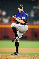 Colorado Rockies pitcher Matt Belisle #34 during a National League regular season game against the Arizona Diamondbacks at Chase Field on October 3, 2012 in Phoenix, Arizona. Colorado defeated Arizona 2-1. (Mike Janes/Four Seam Images)