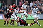 Dominic Ryan loses the ball in the tackle as Luke Charteris brings him down..RaboDirect Pro 12.Newport Gwent Dragons v Leinster..05.05.12.©Steve Pope-Sportingwales
