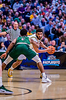 12 March 2019: University of Vermont Catamount Forward Anthony Lamb, a Junior from Toronto, Ontario, in action against the Binghamton University Bearcats at Patrick Gymnasium in Burlington, Vermont. Lamb finished the game with 18 points and a career-high seven assists as the top-seeded Catamounts advanced to their fourth-straight America East conference championship game, defeating the Bearcats 84-51. Mandatory Credit: Ed Wolfstein Photo *** RAW (NEF) Image File Available ***
