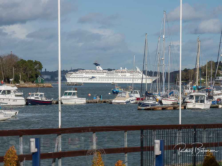A Cruiser liner passes Crosshaven while exiting Cork Harbour