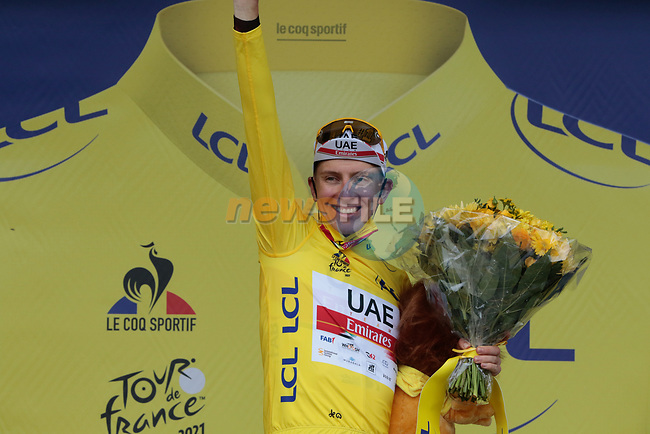 Race leader Tadej Pogacar (SLO) UAE Team Emirates retains the Yellow Jersey at the end of Stage 16 of the 2021 Tour de France, running 169km from Pas de la Case to Saint-Gaudens, Andorra. 13th July 2021.  <br /> Picture: Colin Flockton   Cyclefile<br /> <br /> All photos usage must carry mandatory copyright credit (© Cyclefile   Colin Flockton)