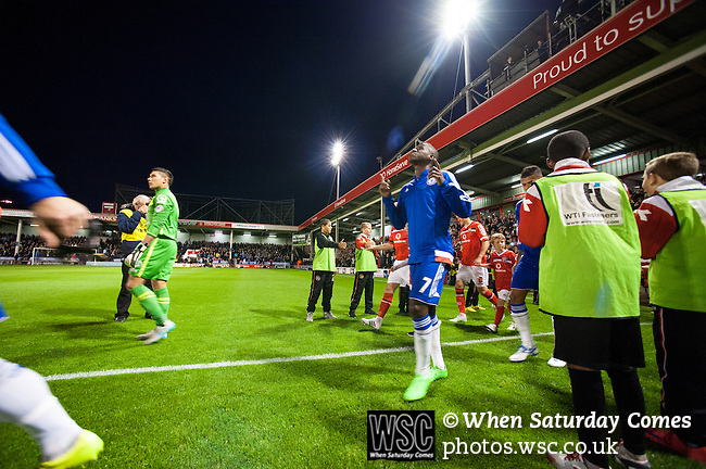 Walsall 1 Chelsea 4, 23/09/2015. Bescot Stadium, Capital One Cup Third Round. League One Walsall host struggling Premier League Chelsea. After drawing the Londoners, Saddlers supporters sold out the Bescot Stadium hoping for an upset. The match was watched by 10,525. Ramires looks to the heavens as he enters the field. Photos by Simon Gill.