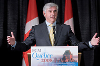 Canadian Minister of Foreign Affairs for the Conservatives Lawrence Cannon talks at the Federation of Canadian Municipalities (FCM) congress in Quebec city Monday June 2, 2008.<br /> <br /> PHOTO :  Francis Vachon - Agence Quebec Presse<br /> <br /> <br /> PHOTO :  Francis Vachon - Agence Quebec Presse