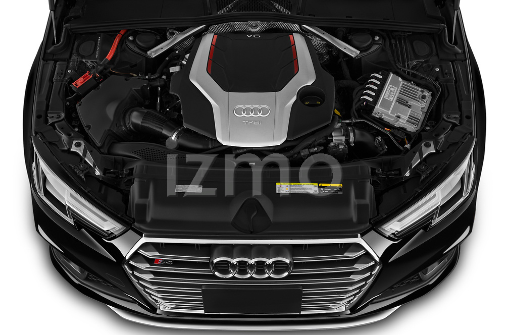 Car Stock 2019 Audi S4 Premium-Plus 4 Door Sedan Engine  high angle detail view
