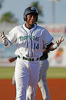 Daytona Tortugas outfielder Junior Arias (14) rounding the bases after homering during a game against the Tampa Yankees at Radiology Associates Field at Jackie Robinson Ballpark on June 13, 2015 in Daytona, Florida. Tampa defeated Daytona 8-6. (Robert Gurganus/Four Seam Images)