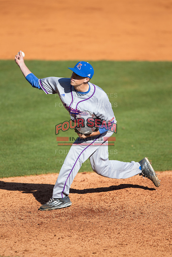 Louisiana Tech Bulldogs starting pitcher Phil Maton (24) in action against the Charlotte 49ers at Hayes Stadium on March 28, 2015 in Charlotte, North Carolina.  The 49ers defeated the Bulldogs 9-5 in game two of a double header.  (Brian Westerholt/Four Seam Images)
