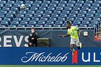 FOXBOROUGH, MA - MAY 12: Panzani Ferrety Sousa #25 of Union Omaha heads the ball during a game between Union Omaha and New England Revolution II at Gillette Stadium on May 12, 2021 in Foxborough, Massachusetts.