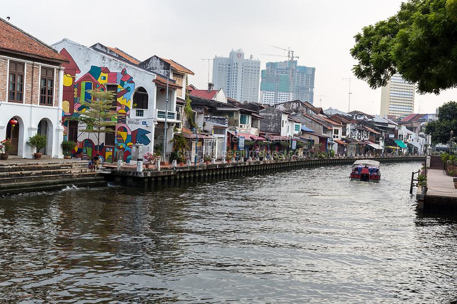 Old Shophouses Line the Melaka River, Melaka, Malaysia.
