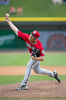 Carolina Mudcats starting pitcher Corbin Burnes (48) delivers a pitch to the plate against the Winston-Salem Dash at BB&T Ballpark on May 21, 2017 in Winston-Salem, North Carolina.  The Mudcats defeated the Dash 3-0 in 10 innings.  (Brian Westerholt/Four Seam Images)