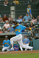 Myrtle Beach Pelicans second baseman Andruw Monasterio (16) at bat during a game against the Carolina Mudcats at Ticketreturn.com Field at Pelicans Ballpark on June 15 , 2018 in Myrtle Beach, South Carolina. Carolina defeated Myrtle Beach 4-2. (Robert Gurganus/Four Seam Images)