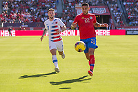 CARSON, CA - FEBRUARY 1: Ronald Matarrita #22 of Costa Rica moves to the ball during a game between Costa Rica and USMNT at Dignity Health Sports Park on February 1, 2020 in Carson, California.