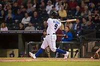 AFL West catcher Meibrys Viloria (9), of the Surprise Saguaros and Kansas City Royals organization, follows through on his swing during the Fall Stars game at Surprise Stadium on November 3, 2018 in Surprise, Arizona. The AFL West defeated the AFL East 7-6 . (Zachary Lucy/Four Seam Images)