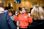 WATERBURY, CT- 4 November 2014-110414EC14--    Sherri Vogt, one of Elizabeth Esty's district aides, reacts as she learns the democrat won the fifth congressional district at CoCo Key in Waterbury Tuesday night. Erin Covey Republican-American