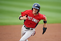 Potomac Nationals shortstop Carter Kieboom (5) runs the bases during the first game of a doubleheader against the Salem Red Sox on June 11, 2018 at Haley Toyota Field in Salem, Virginia.  Potomac defeated Salem 9-4.  (Mike Janes/Four Seam Images)
