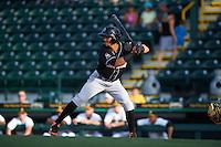 Jupiter Hammerheads outfielder Yefri Perez (12) at bat during a game against Bradenton Marauders on August 4, 2015 at McKechnie Field in Bradenton, Florida.  Jupiter defeated Bradenton 9-3.  (Mike Janes/Four Seam Images)