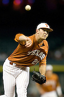 NCAA Baseball featuring the Texas Longhorns against the Missouri Tigers. Jungmann, Taylor 3648  at the 2010 Astros College Classic in Houston's Minute Maid Park on Sunday, March 7th, 2010. Photo by Andrew Woolley