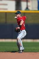 Great Lakes Loons shortstop Nick Dean (5) throws to first during a game against the Clinton LumberKings on August 16, 2015 at Ashford University Field in Clinton, Iowa.  Great Lakes defeated Clinton 3-2 in ten innings.  (Mike Janes/Four Seam Images)