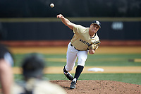 Wake Forest Demon Deacons starting pitcher Colin Peluse (8) delivers a pitch to the plate against the Louisville Cardinals at David F. Couch Ballpark on March 18, 2018 in  Winston-Salem, North Carolina.  The Demon Deacons defeated the Cardinals 6-3.  (Brian Westerholt/Four Seam Images)