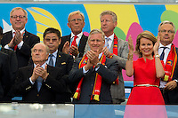 FIFA President Sepp Blatter with King Philippe of Belgium and his wife, Queen Mathilde
