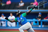 Courtney Hawkins (24) of the Lexington Legends follows through on a home run against the High Point Rockers at Truist Point on June 16, 2021, in High Point, North Carolina. The Legends defeated the Rockers 2-1. (Brian Westerholt/Four Seam Images)