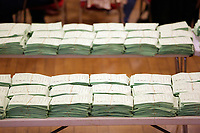 Pictured: Gower candidate Tonia Antoniazzi's winning ballots. Friday 09 June 2017<br /> Re: Counting of ballots at Brangwyn Hall for the general election in Swansea, Wales, UK