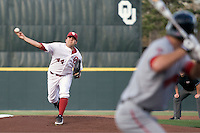 Oklahoma Sooner starting pitcher Michael Rocha (44) delivers against Texas Tech on Friday April 1st, 2011 at Dale Mitchell Park in Norman, Oklahoma.  (Photo by Andrew Woolley / Four Seam Images)