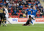 St Johnstone v Rangers…11.09.21  McDiarmid Park    SPFL<br />Ali Crawford's shot is blocled by James Tavernier<br />Picture by Graeme Hart.<br />Copyright Perthshire Picture Agency<br />Tel: 01738 623350  Mobile: 07990 594431