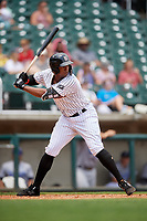 Birmingham Barons left fielder Eloy Jimenez (21) at bat during a game against the Pensacola Blue Wahoos on May 9, 2018 at Regions FIeld in Birmingham, Alabama.  Birmingham defeated Pensacola 16-3.  (Mike Janes/Four Seam Images)
