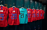 PHILADELPHIA, PA - AUGUST 29: Adrianna Franch #21 of the United States has her jersey hang in the locker room prior to a game between Portugal and the USWNT at Lincoln Financial Field on August 29, 2019 in Philadelphia, PA.