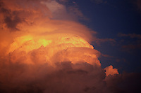 "Several layers or ""tiers"" of pileus clouds cap the upper portions of a developing cumulonimbus cloud at sunset over Norman Oklahoma."