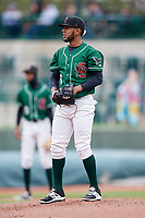 Great Lakes Loons starting pitcher Leo Crawford (6) gets ready to deliver a pitch during a game against the Burlington Bees on May 4, 2017 at Dow Diamond in Midland, Michigan.  Great Lakes defeated Burlington 2-1.  (Mike Janes/Four Seam Images)