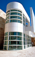Richard Meier: The Getty Center--Elevator from tramway to terrace. (Obviously modeled upon Erich Mendelsohn's Pavilion at Bexhill-on-Sea).  Photo '99.