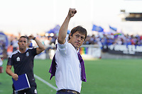 SAN JOSE, CA - AUGUST 8: San Jose Earthquakes head coach Matias Almeyda celebrates after a game between Los Angeles FC and San Jose Earthquakes at PayPal Park on August 8, 2021 in San Jose, California.