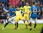 Rangers v St Johnstone…16.12.17…  Ibrox…  SPFL<br />Richie Foster and Alfredo Morelos<br />Picture by Graeme Hart. <br />Copyright Perthshire Picture Agency<br />Tel: 01738 623350  Mobile: 07990 594431