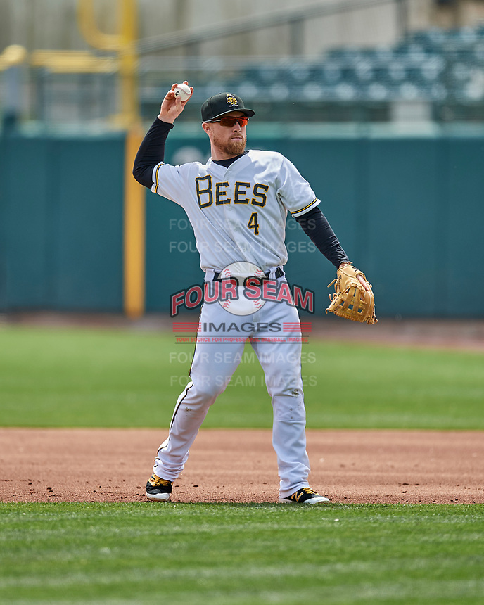 Nolan Fontana (4) of the Salt Lake Bees on defense against the El Paso Chihuahuas in Pacific Coast League action at Smith's Ballpark on April 30, 2017 in Salt Lake City, Utah. El Paso defeated Salt Lake 3-0. This was Game 1 of a double-header.  (Stephen Smith/Four Seam Images)
