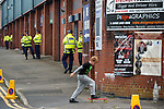 Rochdale 2 Bury 0, 15/10/2016. Spotland Stadium, League One. A young boy on his skateboard outside the stadium. <br />
