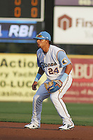 Myrtle Beach Pelicans second baseman Rougned Odor #24 during a game against the Wilmington Blue Rocks at Ticketreturn.com Field at Pelicans Ballpark on April 6, 2013 in Myrtle Beach, South Carolina. Myrtle Beach defeated Wilmington 5-0. (Robert Gurganus/Four Seam Images)