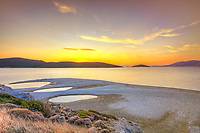 The sunset at the beach Megali Ammos of Marmari in Evia, Greece