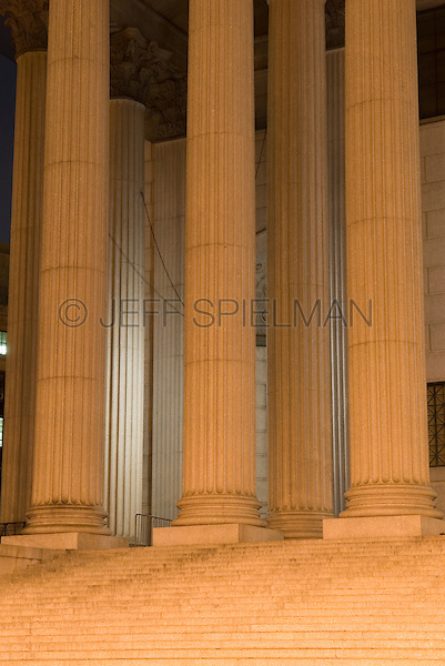 AVAILABLE FROM GETTY IMAGES FOR COMMERCIAL AND EDITORIAL LICENSING.  Please go to www.gettyimages.com and search for image # 115925716.<br /> <br /> Detail of Courthouse Columns and Staircase Illuminated at NIght, Foley Square, Lower Manhattan, New York City, New York State, USA