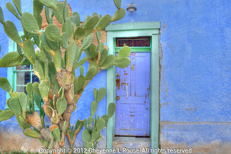 "Historic ""El Barrio"" neighborhood in Tucson, Arizona with row after row of charming and colorful adobe houses built in the 1800's - since restored."