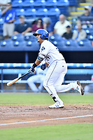 Asheville Tourists third baseman Colton Welker (24) swings at a pitch during a game against the Greenville Drive at McCormick Field on September 5, 2017 in Asheville, North Carolina. The Tourists defeated the Drive 4-2. (Tony Farlow/Four Seam Images)
