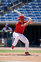 Clearwater Threshers left fielder Adam Haseley (17) at bat during a game against the Fort Myers Miracle on April 25, 2018 at Spectrum Field in Clearwater, Florida.  Clearwater defeated Fort Myers 9-5. (Mike Janes/Four Seam Images)