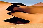 Giant sand dunes at Sossusvlei, Namib Desert, Namibia.